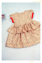 Citrus Pop Dress: girls cotton floral dress. Vintage inspired print cotton and ruffled modern style. Hand made in the USA by Fleur and Dot.