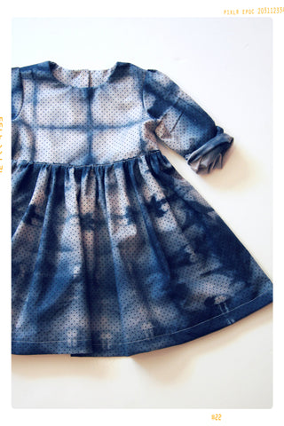 PLUM SHIBORI | Girls' Hand Dyed Cotton Dress with Long Sleeves