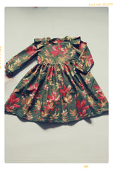 Vintage Modern Girls Christmas Dress in Green Floral Cotton