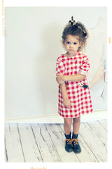 Red gingham shift dress for girls with cow print pocket