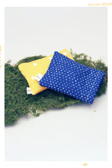 Navy Heart and Yellow Cross Pillow Set