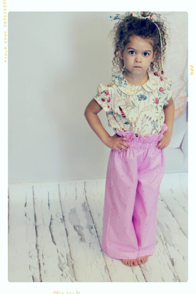 DOT ON DOT | Girls' Cotton Wide Leg Pants in Pink Polka Dot