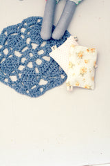 Wee Crocheted Rug in Blue