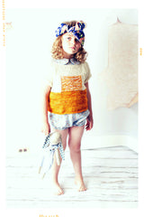Yellow hand knit sweater pullover with girls floral cotton romper. Handmade in USA by Fleur + Dot
