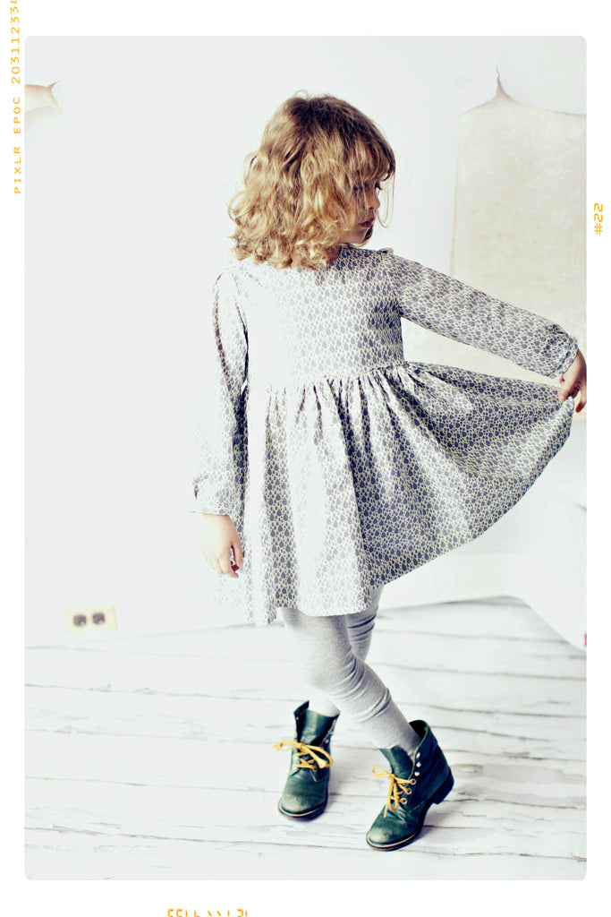 Girls raindrop vintage inspired organic cotton dress from fleur + dot