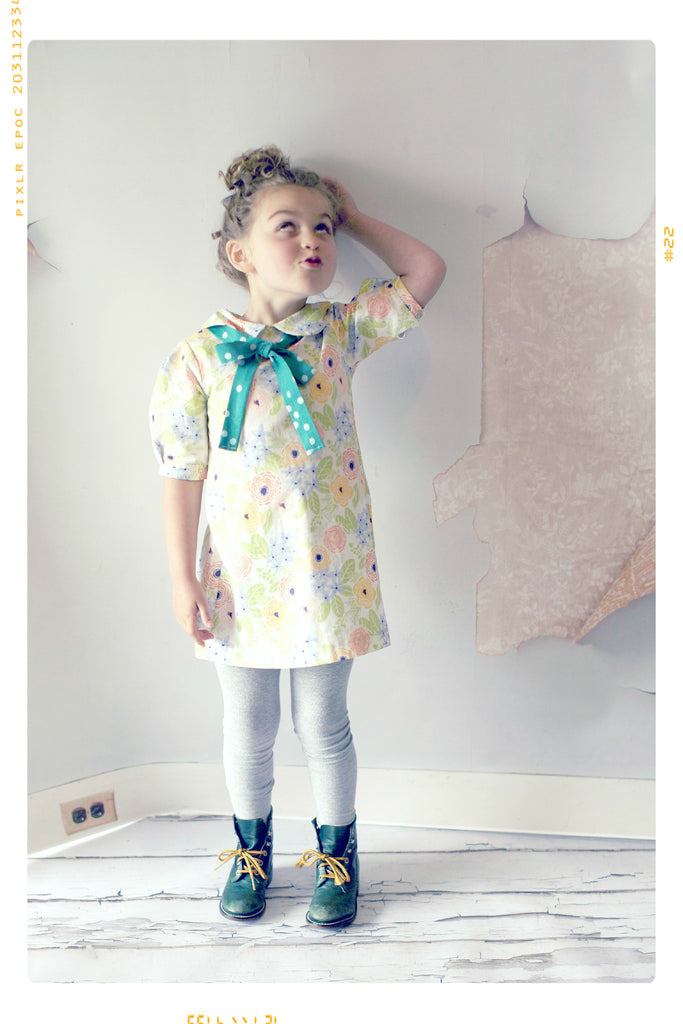 Floral bow peter pan collar girls shift dress with vintage polka dots by Fleur + Dot