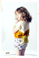 Girls vintage airplane print shorts with oversized sun yellow bow shorts. Fleur + Dot