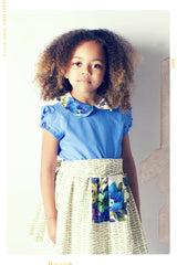 Girls high waist skirt and sash in vintage floral and bow cotton by Fleur + Dot