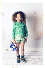 Hand made girls cotton green shorts. Bubble shorts by Fleur and Dot Vintage