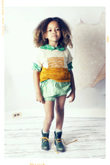 green stripe and dot cotton girls shorts for spring summer. Vintage inspired bubble shorts bloomers by Fleur + Dot