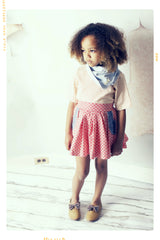 girls high waist pocket skirt. red floral cotton. vintage inspired by fleur and dot. Made in the USA.