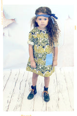 Evergreen tree print cotton girls dress with vintage peter pan collar