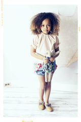 Pearl's Bubble Shorts: Grey and pink vintage inspired bubble bloomer shorts by Fleur + Dot. Girls cotton spring and summer shorts in modern, handmade style.
