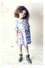blue and white cloud dress for girls. vintage inspired. hand made in the USA
