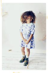 girls handmade dress in blue cloud with peter pan collar vintage inspired cotton dress
