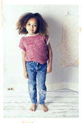 girls couture hand knit sweater in merino wool. Made in the USA by Fleur and Dot