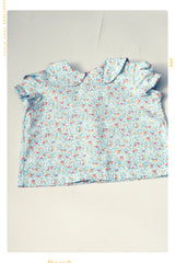 blue and pink floral print in vintage peter pan collar girls shirt blouse