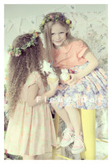 girls floral dress in pink flowers with peter pan collar by fleur + dot. Vintage inspired and made in the USA.