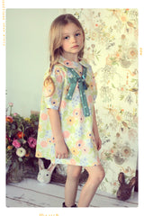 Peter Pan collar bow shift dress in floral and polka dot cotton