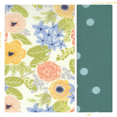 cream, pink, blue, yellow and green floral and polka dot cotton for fleur and dot