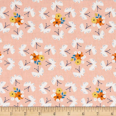 pink cotton floral. Flowers and butterfly cotton in pink, white, orange, yellow and blue