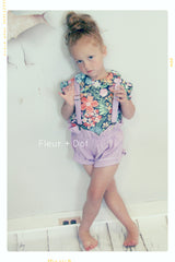 PLUCKY PURPLE | Linen Ruffle Top Girls' Shorts in Lavender or Grape