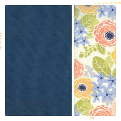 Blue organic cotton with vintage cream and pink floral
