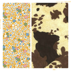 Cow print cotton and vintage yellow floral cotton for fleur and dot. Handmade childhoods.