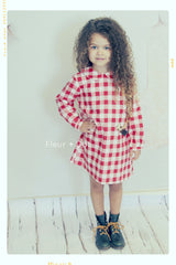 red and white check gingham cotton shift dress vintage inspired for girls