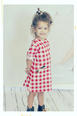 fleur + dot ruby at county fair red white check gingham peter pan collar shift dress