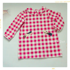 peter pan collar shift dress long sleeves in red and white picnic check gingham for girls