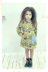 Peter pan collar girls shift dress with pocket in tree print cotton