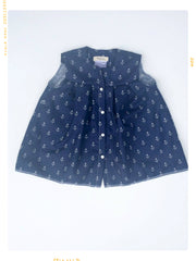 girls cotton sailor shirt with button front in navy anchor cotton