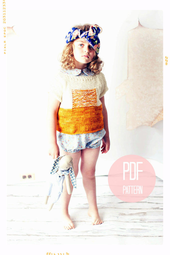 The Sunrise Knit Sweater Knitting Pattern is a downloadable PDF file. Color block and textured pullover sweater. Modern jumper. Girls and women's sizes. Fleur + Dot.