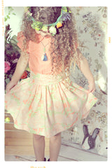 The Azalea Garden: Girls twirl skirt in pink floral cotton by Fleur + Dot. Vintage inspired floral cotton print skirt and sash. Custom made in the USA.