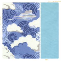 Blue and white cloud print cotton with sky blue for fleur and dot