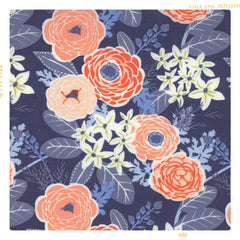 Pink, Blue and white floral cotton in vintage style print.