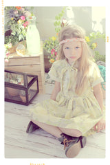 vintage inspired girls floral cotton shirtdress with bow. handmade in the USA