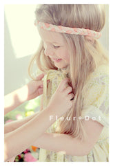 vintage inspired dress. handmade in the USA by Fleur and Dot. Floral cotton girls bow dress.