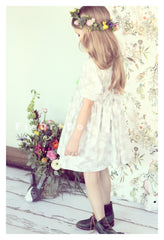 vintage inspired shirt dress for girls by fleur and dot. Grey cloud cotton print