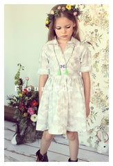 cloudy girls dress in grey cotton. Made in USA. Vintage inspired by Fleur and Dot. Handmade childhoods