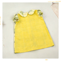 peter pan collar girls shift dress in vintage yellow and floral cotton