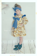Ruffle Dress with bow for girls in horse cotton and blue polka dots