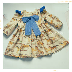 Fleur + Dot Western Skies Bow and Ruffle Girls Cotton Dress