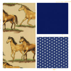 Tan horse print cotton with navy and blue polka dots
