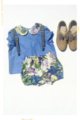 Blue and floral cotton vintage shirt for girls