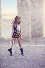 The Giddy Up Shorts: Girls high waist cotton shorts with oversized bow in black and tan horse print cotton with evergreen bow. Elastic back. Vintage inspired.