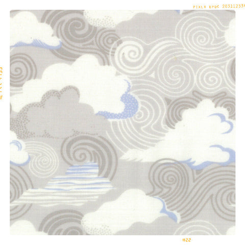 GREY CLOUDS | Cotton Fabric by the Yard