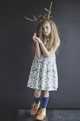 vintage peter pan collar dress with short sleeves in cotton for girls
