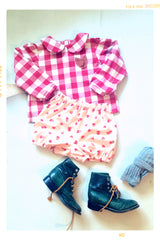 Baby girl strawberry shorts in cotton. Vintage Modern by Fleur + Dot. Made in USA.